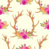 Vintage seamless pattern with deer antlers and flowers. — Stock Vector