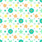 Seamless pattern with small flowers and berries. — Stock Vector