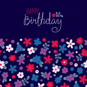 Carte de joyeux anniversaire avec fleurs mignons. — Vecteur