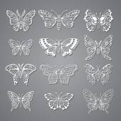 Set of Butterflies Decorative Isolated Silhouettes in Vector — Vecteur