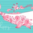 Card Be Happy with Whale — Stock Vector #69800463