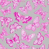Seamless pattern with decorative butterflies. — Stock Vector