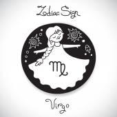 Virgo zodiac sign of horoscope circle emblem in cartoon style. — ストックベクタ