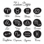 Set of simple zodiac signs with captions — Stock Vector