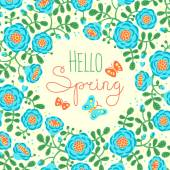 Season card Hello Spring with cute flowers and butterflies. — 图库矢量图片