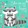 Card with cute raccoons and a declaration of love. — Stock Vector #76321445