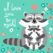 Card with cute raccoons and a declaration of love. — Stock Vector #76847681