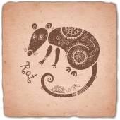 Rat čínský zvěrokruh znamení horoskopu vinobraní karta. — Stock vektor