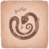Snake. Chinese Zodiac Sign Horoscope Vintage Card. — Stock Vector