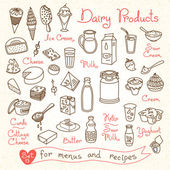 Set drawings of milk and dairy products for design menus, recipes — Stock Vector