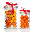 Colorful background of assorted Gumballs in glass jar, isolate — Stock Photo #52481329