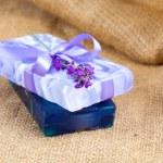 Natural handmade lavender soap on sackcloth — Stock Photo #52481563