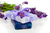 Natural herbal lavender soap with fresh blossoms isolated on whi — Stock Photo