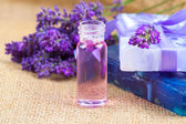 Natural handmade lavender Liquid soap and solid soap with fresh  — Stock Photo