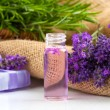 Natural handmade lavender Liquid soap and solid soap with fresh — Stock Photo #52529203