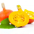 Yellow pumpkins vegetables with green leaves isolated on white background — Stock Photo #52542921