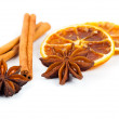 Dry orange, cinnamon and Star Anise with copy space, on white ba — Stock Photo #54390543