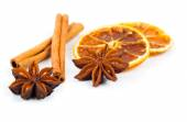Dry orange, cinnamon and Star Anise with copy space, on white ba — Stock Photo