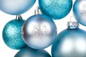 Blue christmas balls hanging isolated on white — Stock fotografie