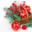 Christmas balls and fir branches with decorations isolated over  — Stock Photo #55271247