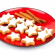 Christmas cinnamon star cookies isolated on white — Stock Photo #57089355