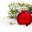 Christmas decoration with snow, isolated on white background — Stock Photo #57089487