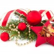 Bright christmas composition with red stars and red Christmas ba — Stock Photo #57089617