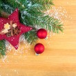 Bright christmas composition with red stars and red Christmas ba — Stock Photo #57089747