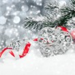 Christmas decoration over snow — Stock Photo #57647203