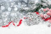 Christmas decoration over snow   — Stock Photo