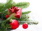 Christmas bauble with copy space, on on white background — Stockfoto