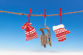 Christmas decoration over blue background — Stock Photo