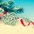 Christmas decoration over snow, blue background — Stock Photo #60855401