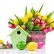 Easter eggs with tulips flowers and birdhouse, on a white backgr — Stock Photo #61500199
