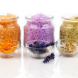 Various kinds of bath salt with flowers, isolated on white backg — Stock Photo #62086041