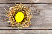 Yellow easter egg in nest on vintage wooden background — Stock Photo