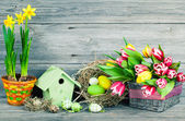 easter decoration with eggs, birdhouse and tulips. wooden backgr — Stockfoto