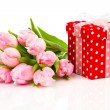 Beautiful tulips with red polka-dot gift box. happy mothers day, — Stock Photo #64915337