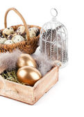 Golden egg in nest space for text, on white background — Stock Photo