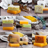 Collage of colorful handmade soap bars, on wooden background — Stock Photo