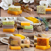 Collage of colorful handmade soap bars — Stock Photo