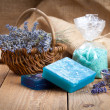 Homemade Soap with Lavender Flowers and Sea Salt — Stock Photo #80786432