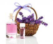 Fresh lavender blossoms with Natural handmade lavender oil, on w — Stock Photo