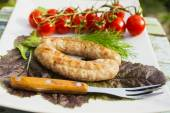 Sausage a grill with vegetables  — Stock Photo