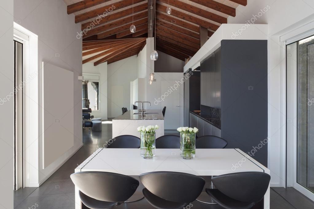 Interiores, mesa de comedor diseño moderno — fotos de stock ...