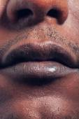 Man lips close up view — Stock Photo