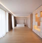 Minimal geometrical queen size bedroom — Stock Photo