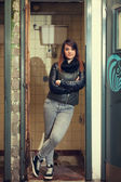 Woman posing in toilet — Stock Photo