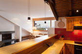 Interior, domestic kitchen of a lovely chalet — Stock fotografie
