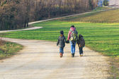 Family on a Nature hike, countryside — Stock Photo